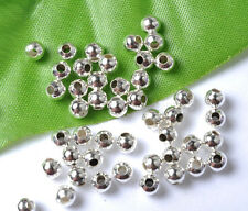 Free Shipping Lots 1000Pcs Silver Plated Smooth Round Spacers Beads 3MM B209
