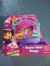 NIB Fisher Price Dora the Explorer Rocks Super Star Stage Play Set 7 Pieces 3+