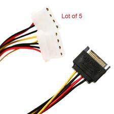 2x IDE/Molex 4-Pin to SATA 15-Pin Power Splitter Y Adapter Cable ( Lot of 5)