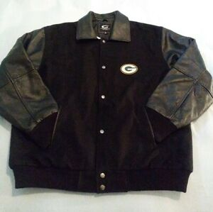 GREEN BAY PACKERS 4 TIME Super Bowl Championship Wool & Genuine Leather Jacket