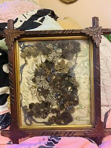 antique victorian mourning hair wreath in hand carved frame