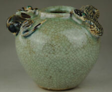 Old Marked Chinese Jun Kiln Porcelain Snake Mouse Handle Vessel Pot Jar Crock