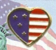 New listing Usa Heart Shaped American Flag Pin, Gold Plate, 4th of July, Made in Usa, New
