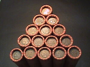 1800'S -1900'S INDIAN HEAD/WHEAT PENNY ROLLS FROM ESTATE LOT SALE