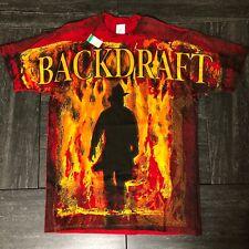 90's Rare Deadstock Backdraft Movie T Shirt All Over