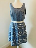 Boden Sz 12 dress blue chambray 100% linen fit & flare embroidered spots luxury