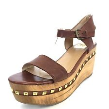 DOLCE VITA Ophelia Brown Strappy Wooden Wedge Sandals Womens Size 7 M*
