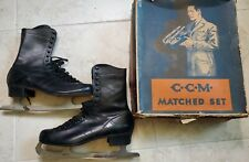 Vintage Men's Figure Ccm Ice Skate Matched Set and Box