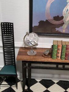 Dollhouse Miniature Artisan (?) Silver & Faux Crystal Working Globe (r)