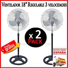 """VENTILADOR DE PIE 18"""" 80W 3 VELOCIDADES OSCILACION ALTURA AJUSTABLE METAL X 2"""