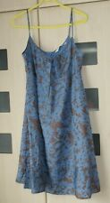 Topshop Blue & Brown Floral Strappy  Sundress Size 12. Pockets. Good Condition