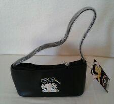 "Betty Boop Black Genuine Leather Handbag/Purse 8"" x 4.25"" x 2.50"" Embroidedred"