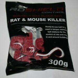 Roshield 300g Rat & Mouse Killer Poison Control Blocks Bait
