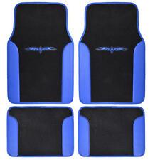 Car Floor Mats Carpet Tattoo Design 2 Tone Color Liner 4 Piece Blue Black