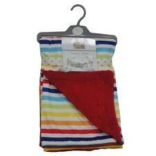 Baby Boy Girl Reversible Wrap Blanket Rainbow Stripes & Red by Pitter Patter