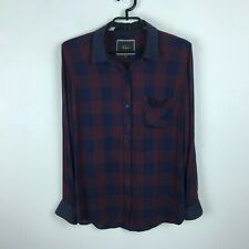 Rails Blouse M Maroon Blue Plaid Button Front Long Sleeve Women Top Shirt Soft