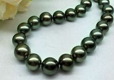 """HUGE 18""""12-14MM NATURAL SOUTH SEA GENUINE  BLACK PERFECT ROUND PEARL NECKLACE"""