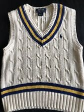 Polo Ralph Lauren Boys Cream Thick Cable Knit Cricket Tank Top Jumper Age 3