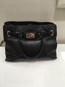Michael Kors Black Genuine Leather Hamilton Tote Handbag
