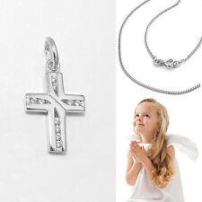 Kinder Kreuz Anhänger Zirkonia Taufkette - Kommunion Echt Silber 925 mit Kette