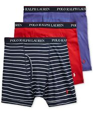 Polo Ralph Lauren Mens 3-Pack Classic Fit Boxer Briefs Navy Stripe/Red/Royal NWT