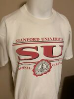 Vintage Stanford University Giant Spell Out College Mens White T Shirt XL USA