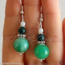Jade & Malachite Amazonite Stone Earrings 925 Sterling Silver hook Green Fairy