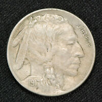1917 5c INDIAN HEAD BUFFALO NICKEL, AU+ DETAILS LOT#V015