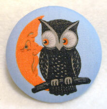 Owl & Crescent Moon  Fabric Covered Button  # 160