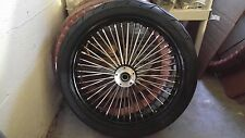 21 X 3.5 FAT SPOKE FRONT BLK/CHR  DD W BW TIRE HARLEY TOURING FLH/FLT 2000-2007