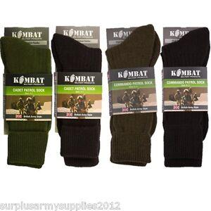 MILITARY SOCKS BRITISH ARMY STYLE BLACK GREEN CADET COMMANDO PATROL SOCKS HIKING