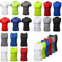 Uomo Compressione Camicia termica layer Maglia canotta maniche corte Fitness