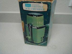 Retro Vintage Sears Swing Away Hand Crank Ice Crusher in Avocado Green w/ Box
