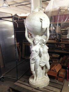 Solid Carrara Marble Fountain of 3 Graces Holding Globe #496