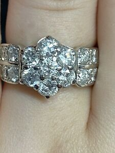 Large Cluster Ring Total Of 2.00 Carat Natural Diamond In Platinum900/size M Or