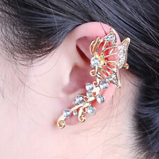 Schmetterling Ohrklemme Ohrstecker Ear Cuff Gold Strass Butterfly Stulpen