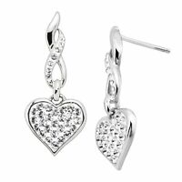Crystaluxe Drop Heart Earrings with Swarovski Crystals in Sterling Silver