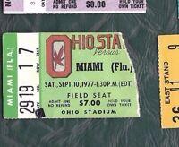 1977 9/10 football ticket stub Ohio State Buckeyes v Miami Hurricanes