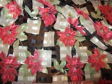 OVER ONE YARD OF BEAUTIFUL LIGHTWEIGHT SHEER FABRIC WITH  POINSETTIA  DESIGN