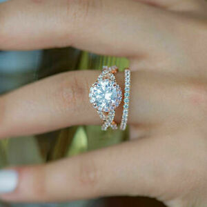 2.15 Ct Round Cut Diamond Handmade Wedding Ring Set For Wife 14K Rose Gold Over