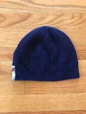 BURBERRY Children Boys Girls Navy Blue Cashmere Nova Check Hat Beanie Cap Sz M/L