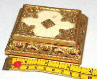Small Ornate Vintage Gold tone Metal Creme Trinket Box Props Cosplay Old Odd KL