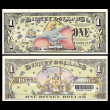 Disney 1 Dollar, 2005, Dumbo, with barcode, Popular, UNC Fantasy Banknote