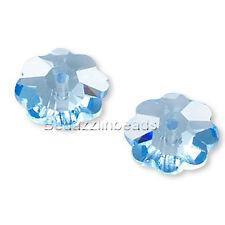 Set of 2 Light Sapphire Blue 8mm Marguerite Lochrose Flower Swarovski Beads