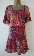 MONSOON RED FLORAL PRINT TUNIC SUN DRESS SIZE S 8 10 SQUARE NECK