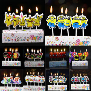 Birthday Cake Candles Topper Party Supplies Spiderman Princess Pokemon Peppa Pig
