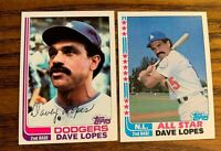 1982 Topps Dave Lopes #338 and #740 - Dodgers