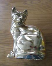 More details for large heavy vintage brass cat
