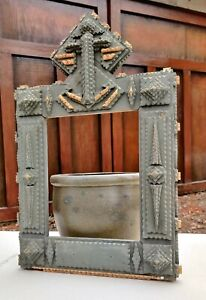 Wonderful Bold Old Tramp Art Chip Carved Nautical Frame 6-7 Layers AAFA Maine
