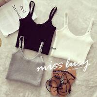Hot Women Summer V Neck Strap Spaghetti Knit Stretch Tops Tank Cami Shirt Blouse